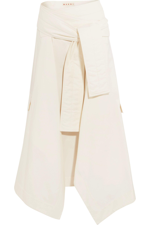 Marni White Asymmetric Midi Skirt For Women On Sale