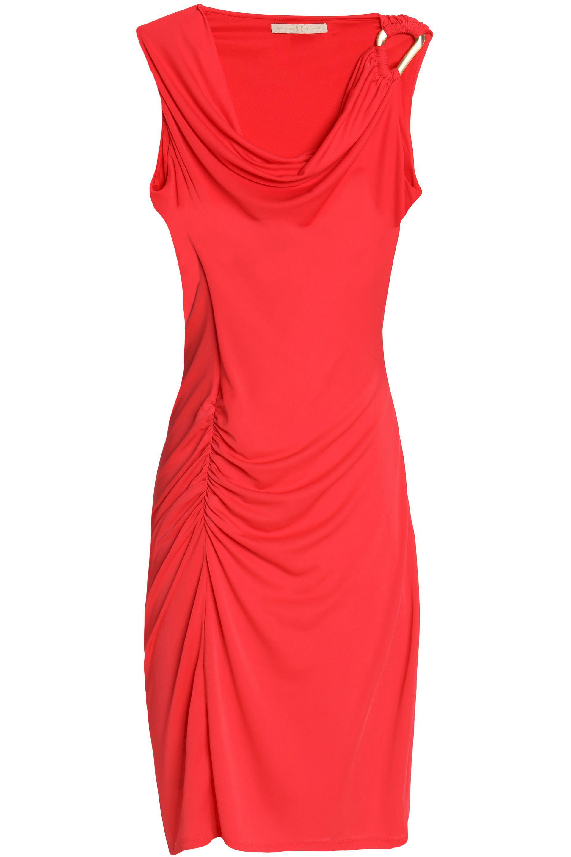 Halston Heritage Woman Ruched Draped Stretch-jersey Mini Dress Tomato Red Size XL Halston Heritage iPiiT49z