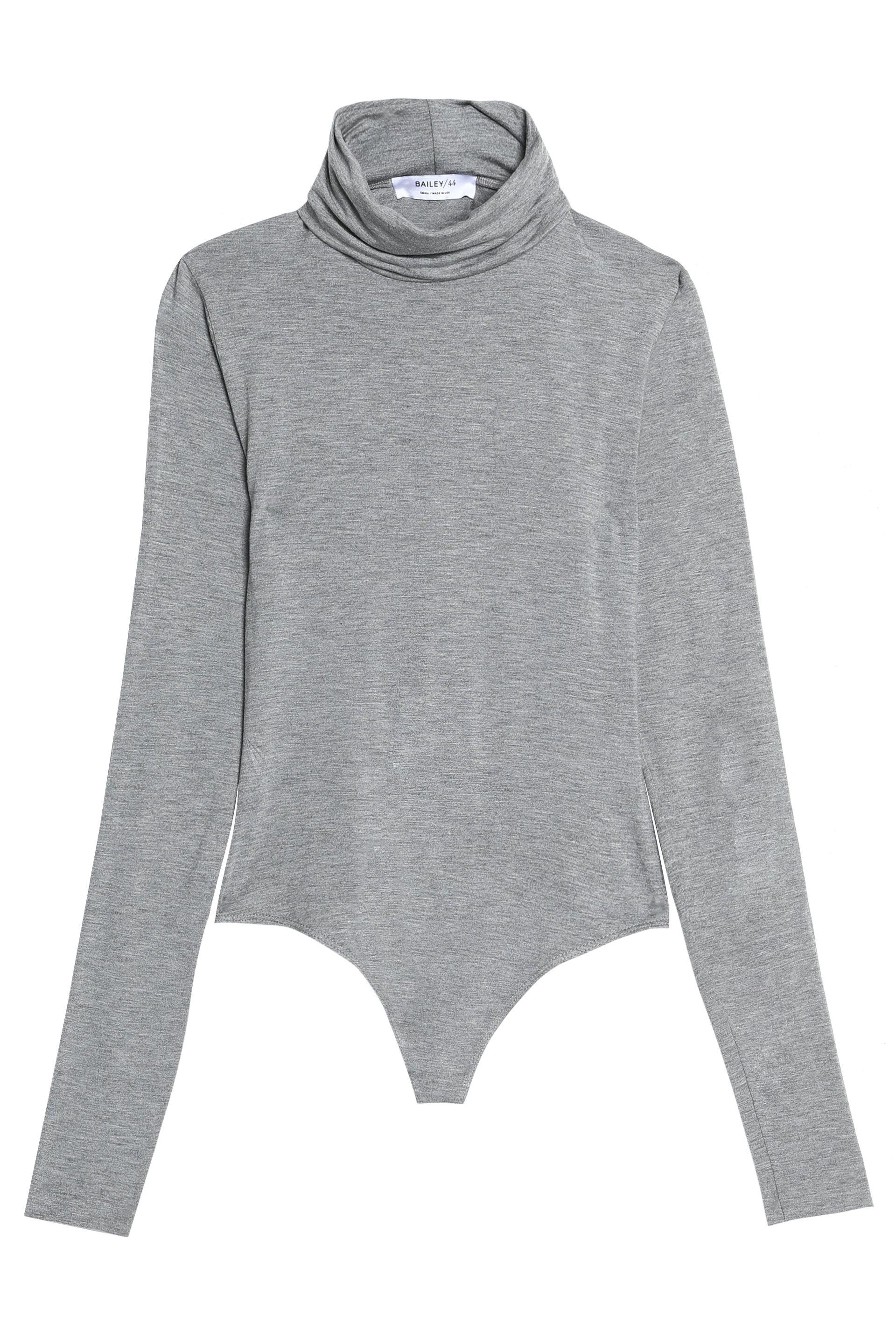Bailey 44 Woman Mélange Stretch-jersey Turtleneck Bodysuit Gray Size M Bailey 44 Cheap Factory Outlet Real Sale Online Discount Classic PMejqYmuH