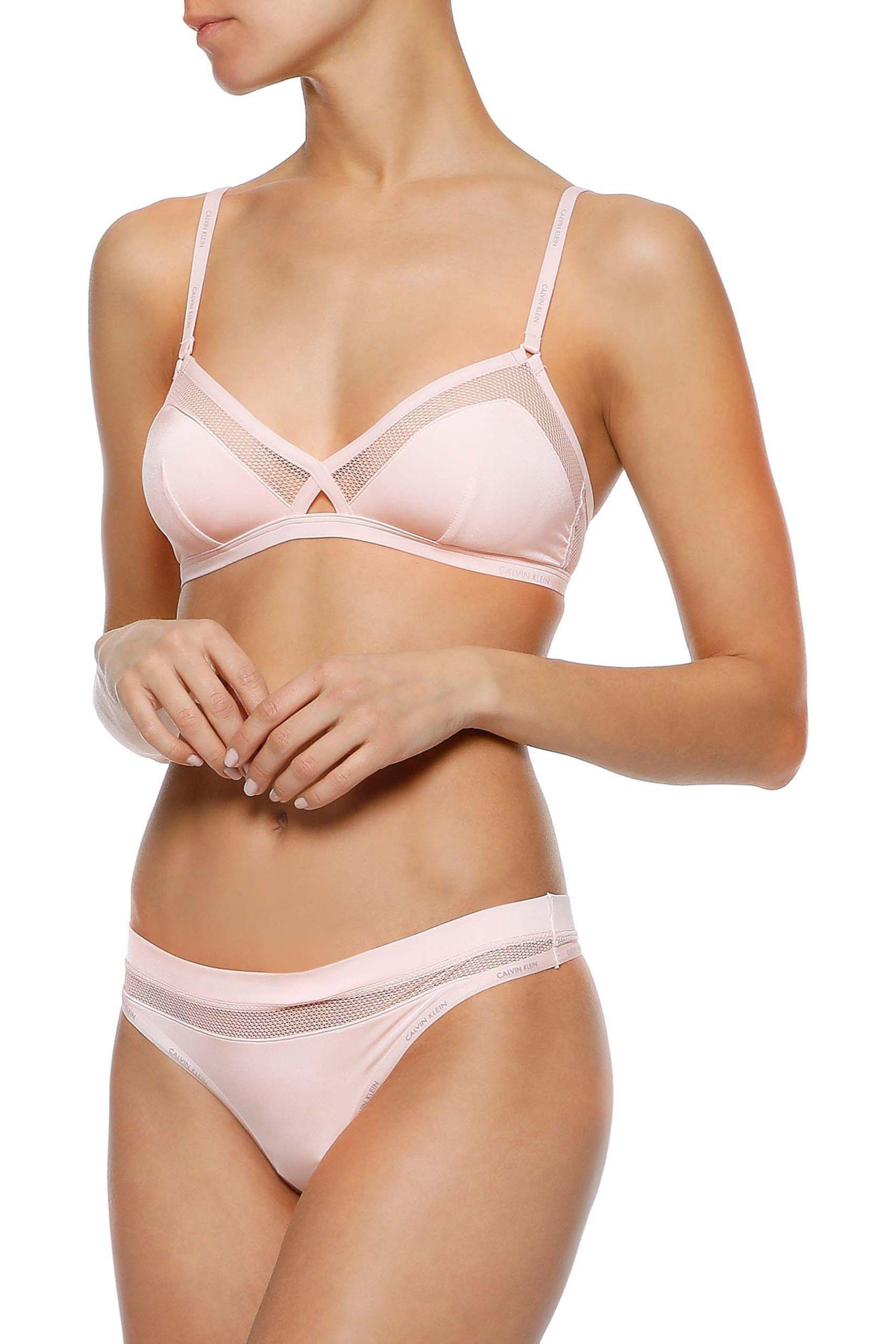 Calvin Klein - Woman Mesh-trimmed Stretch-jersey Soft-cup Triangle Bra  Pastel. View fullscreen 0c9a26026