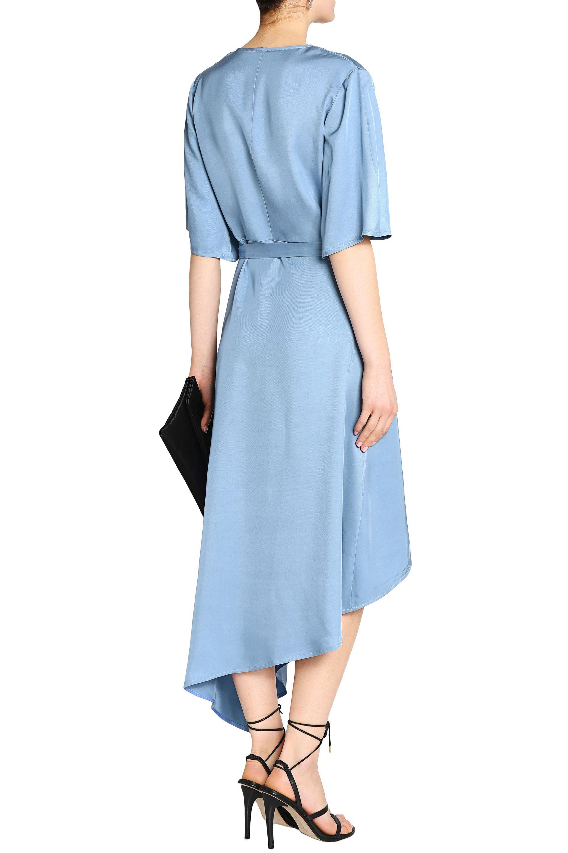 Iris & Ink Woman Noel Asymmetric Satin-twill Midi Wrap Dress Light Blue Size 14 IRIS & INK BvoCs5I