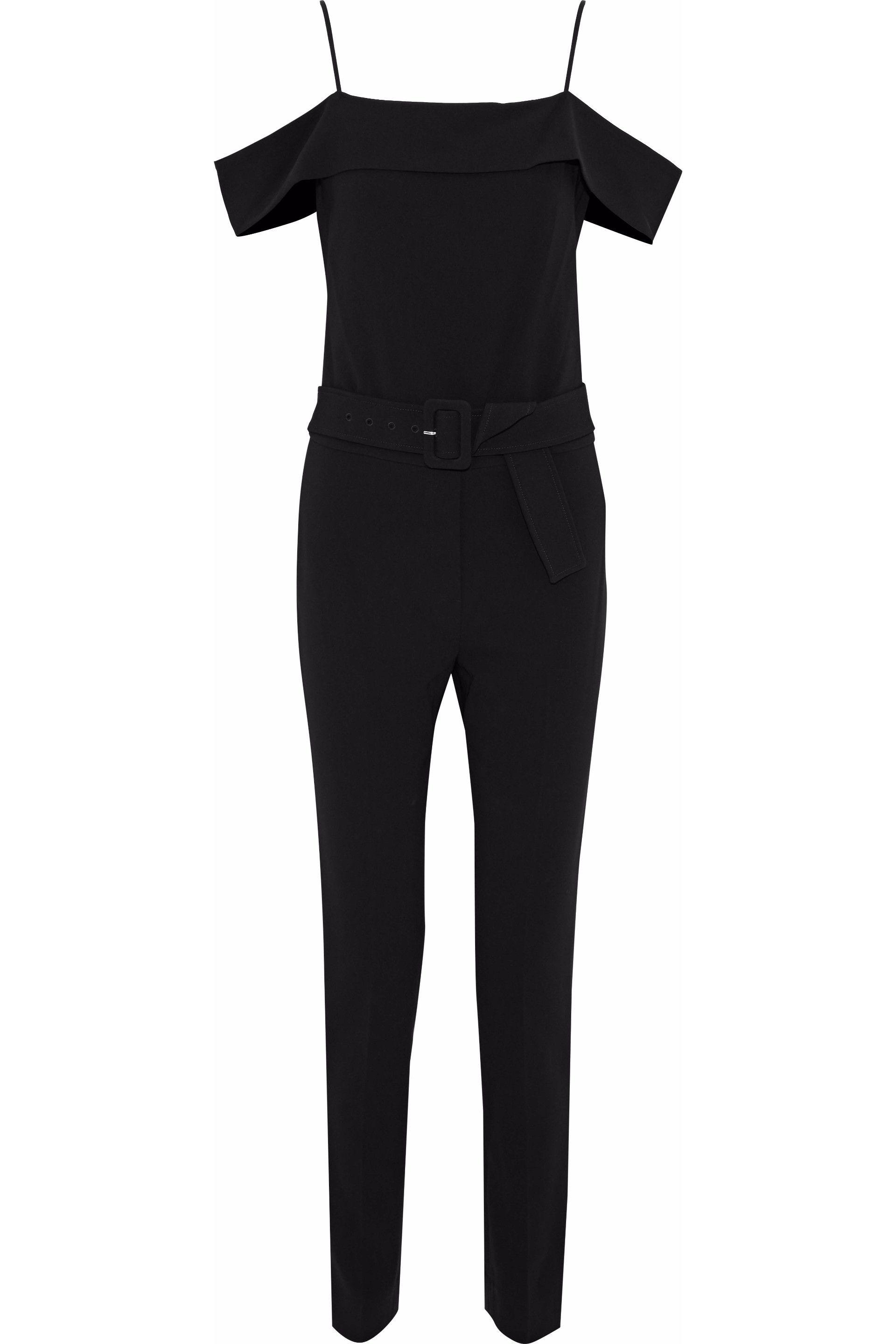 c5f8566b5f14 Lyst - Theory Cold-shoulder Belted Crepe Jumpsuit in Black