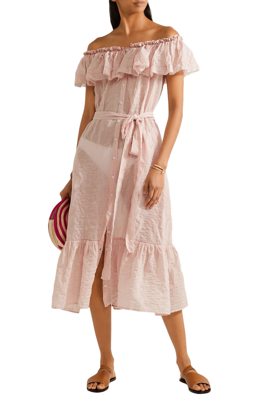 f994083ecf Lisa Marie Fernandez - Woman Mira Off-the-shoulder Striped Cotton-voile  Midi. View fullscreen