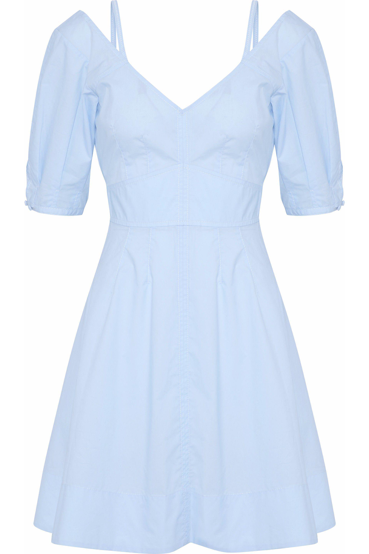 Derek Lam 10 Crosby Woman Tie-front Cotton-poplin Mini Dress Midnight Blue Size 10 Derek Lam EOqaw9E
