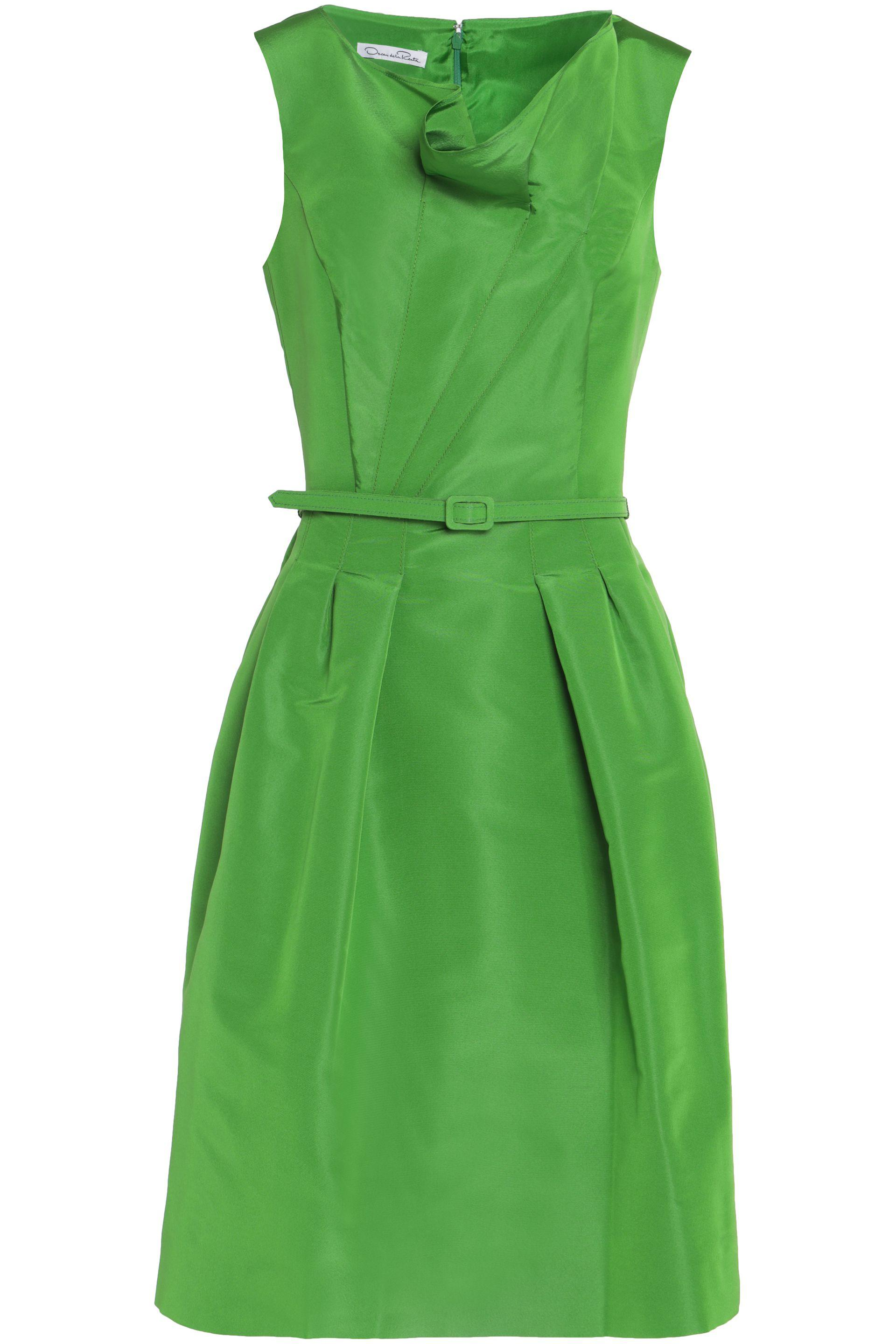 Oscar De La Renta Woman Belted Draped Duchesse Silk-satin Dress Bright Green Size 2 Oscar De La Renta fBInKLv