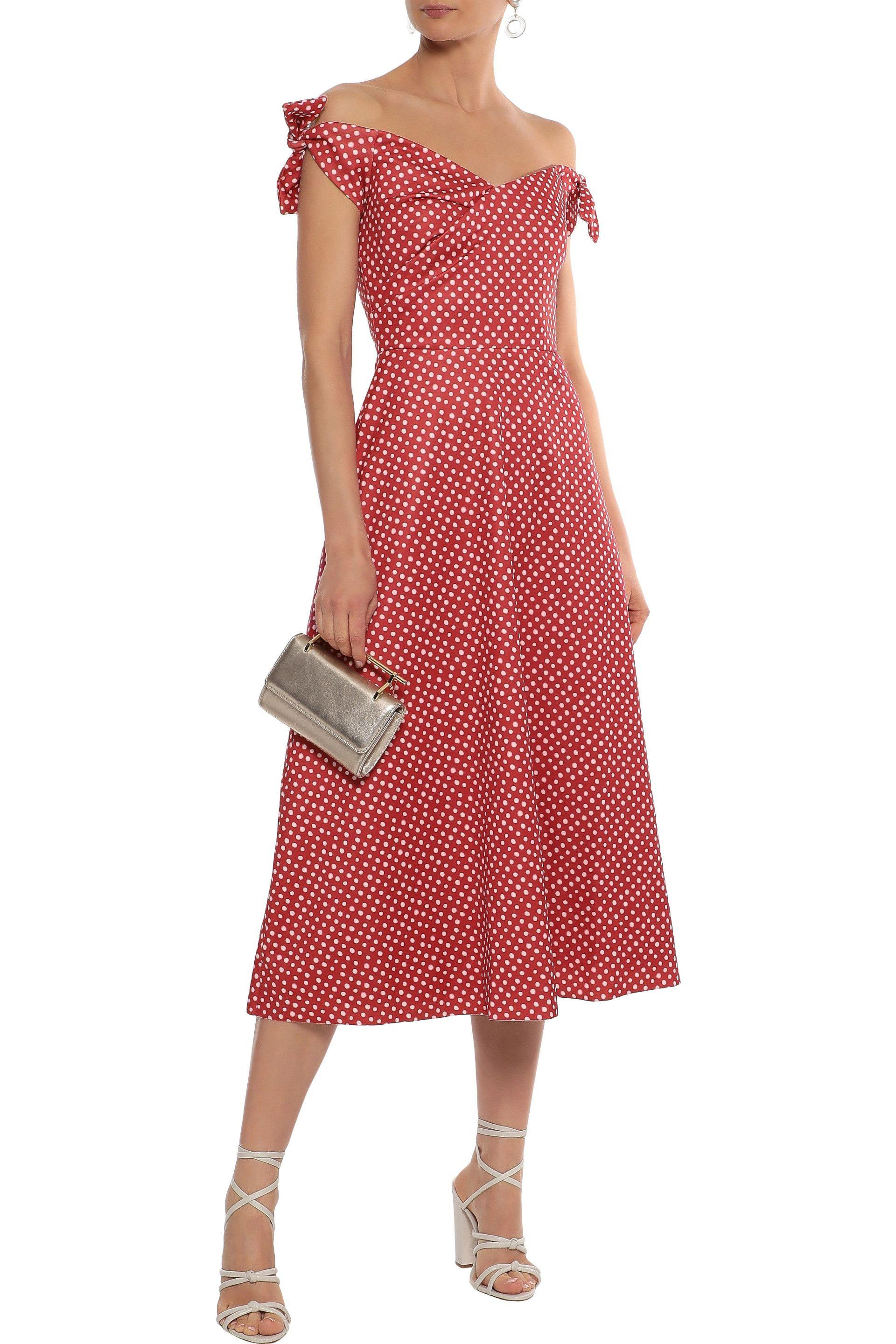 4124d9ef Saloni Woman Ruth Off-the-shoulder Bow-detailed Crepe-twill Midi ...
