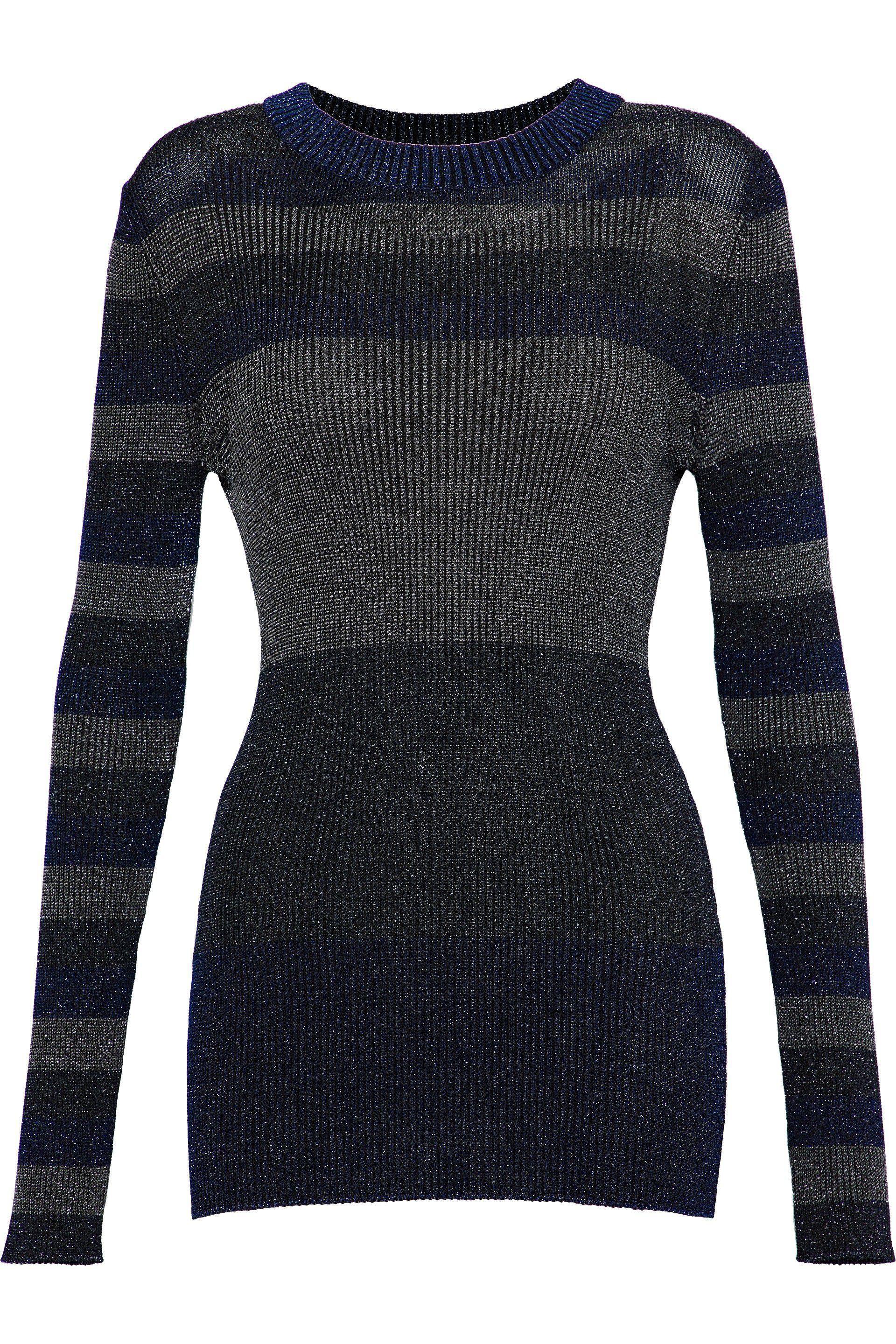 Sonia Rykiel Woman Color-block Metallic Ribbed-knit Top Midnight Blue Size XS Sonia Rykiel Free Shipping Cheap Online From China Low Shipping Fee pf9Mq5H1