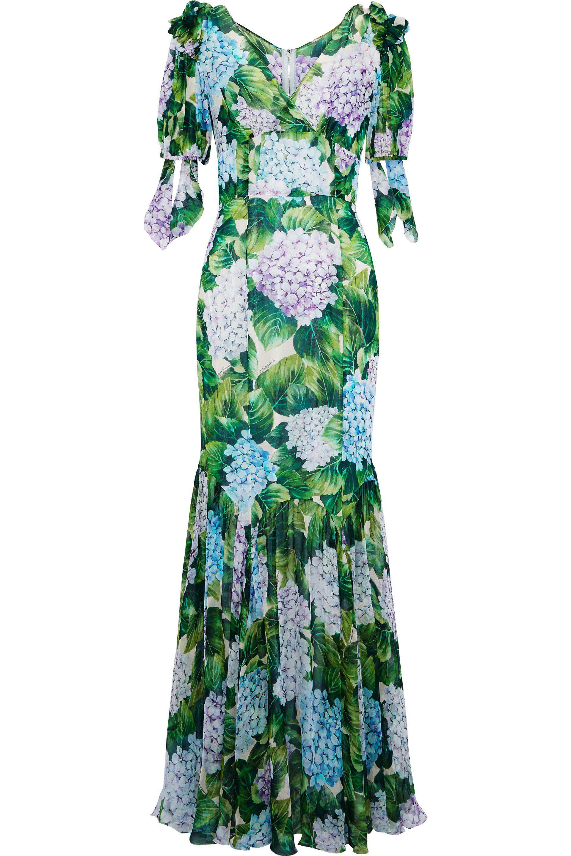 d4beb0206720d Dolce   Gabbana - Green Fluted Floral-print Silk-blend Chiffon Gown - Lyst