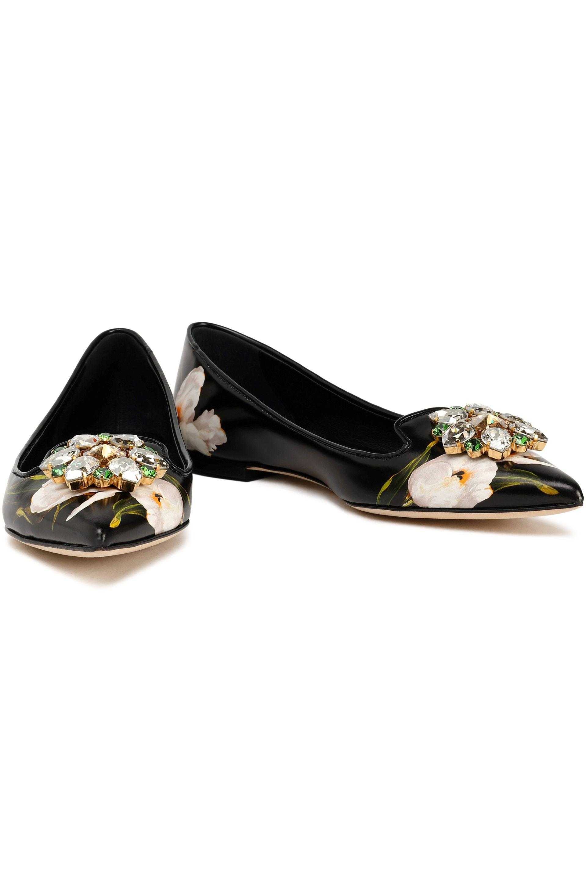 d16c0d87a3a dolce-gabbana-Black-Woman -Crystal-embellished-Floral-print-Leather-Point-toe-Flats-Black.jpeg