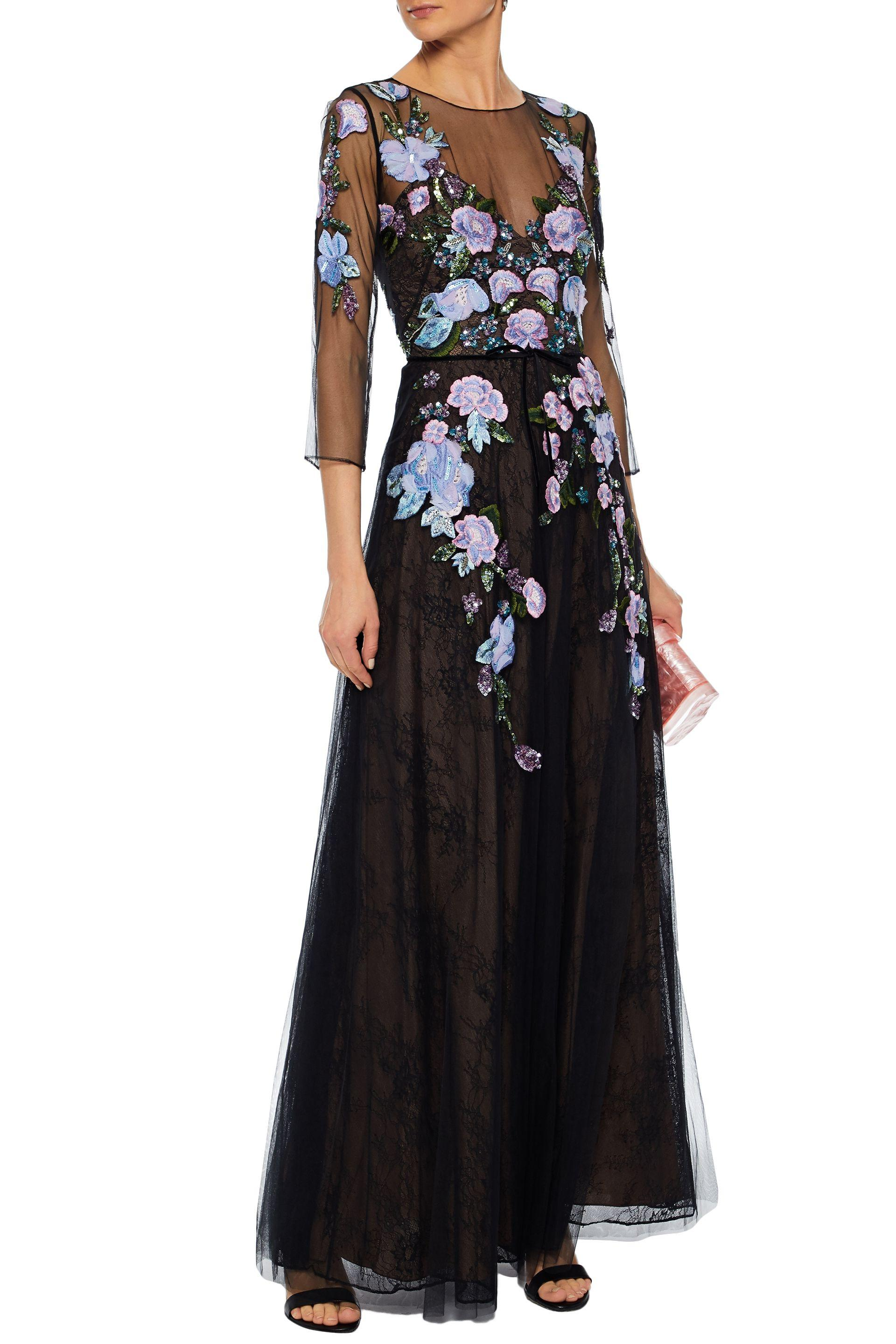 8d212b65 Marchesa notte - Woman Embellished Tulle Gown Black - Lyst. View fullscreen