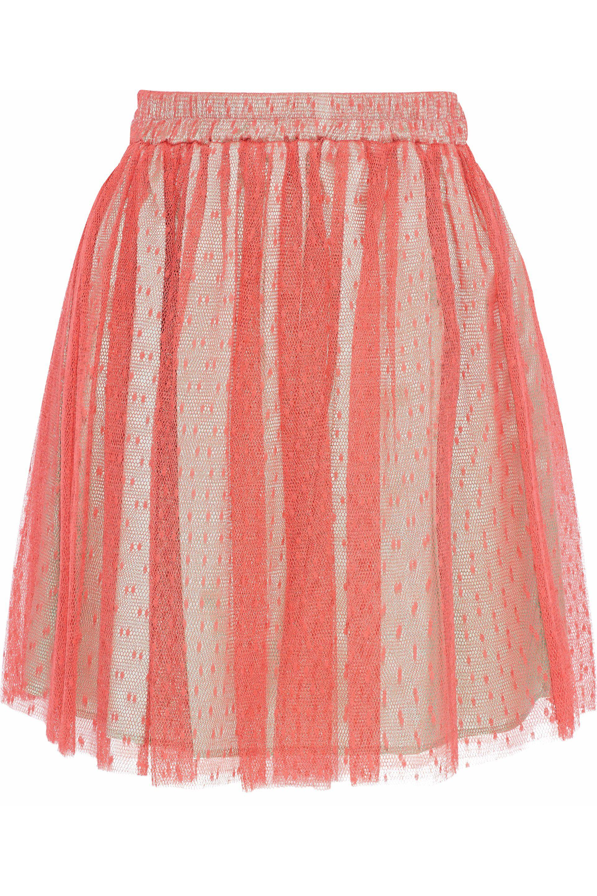 d364f9eace RED Valentino. Women's Pink Woman Pleated Point D'esprit Mini Skirt Coral