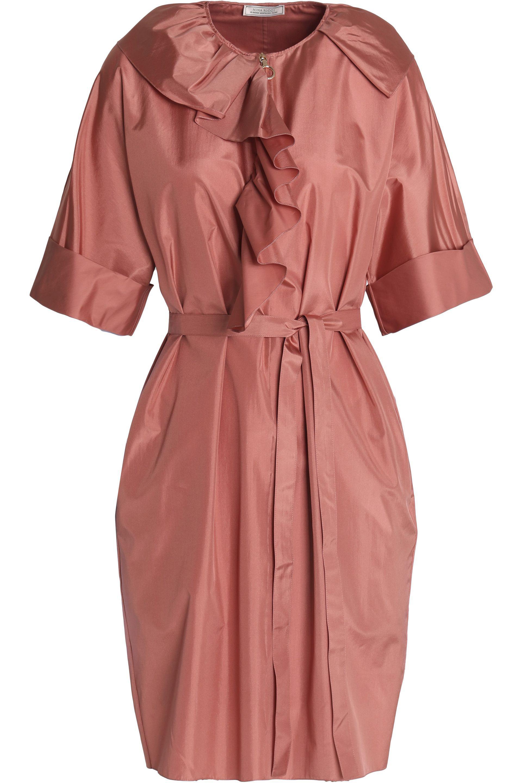Nina Ricci Woman Ruffled Crepe De Chine Dress Antique Rose Size L Nina Ricci sClWV1