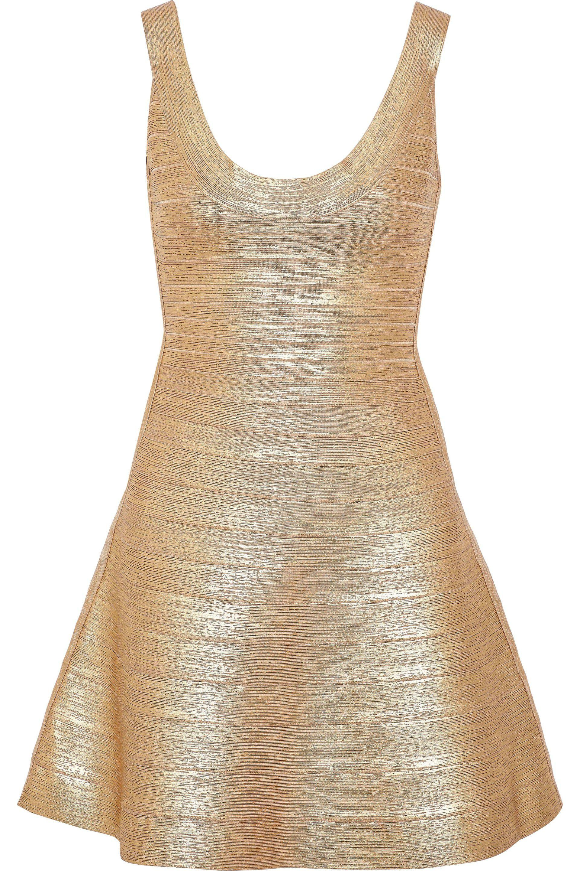 8d181f525034 Hervé Léger Hervé Léger Woman Eva Metallic Bandage Mini Dress Gold ...