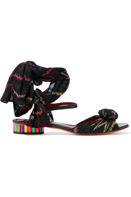 Missoni Woman Leather And Crochet-knit Sandals Black Size 40 Missoni JDGYC