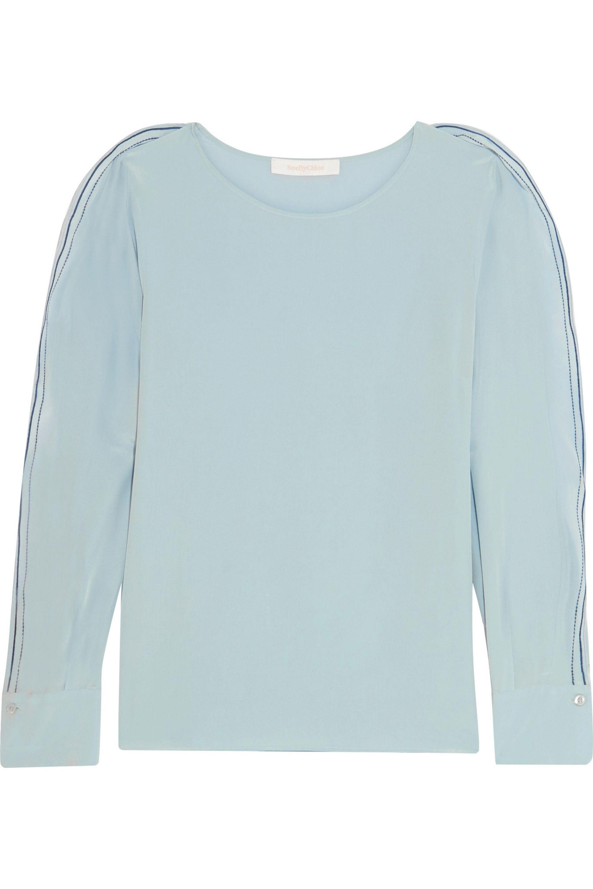 See By Chloé. Women's Blue Embroidered Ruffled Silk Crepe De Chine Top