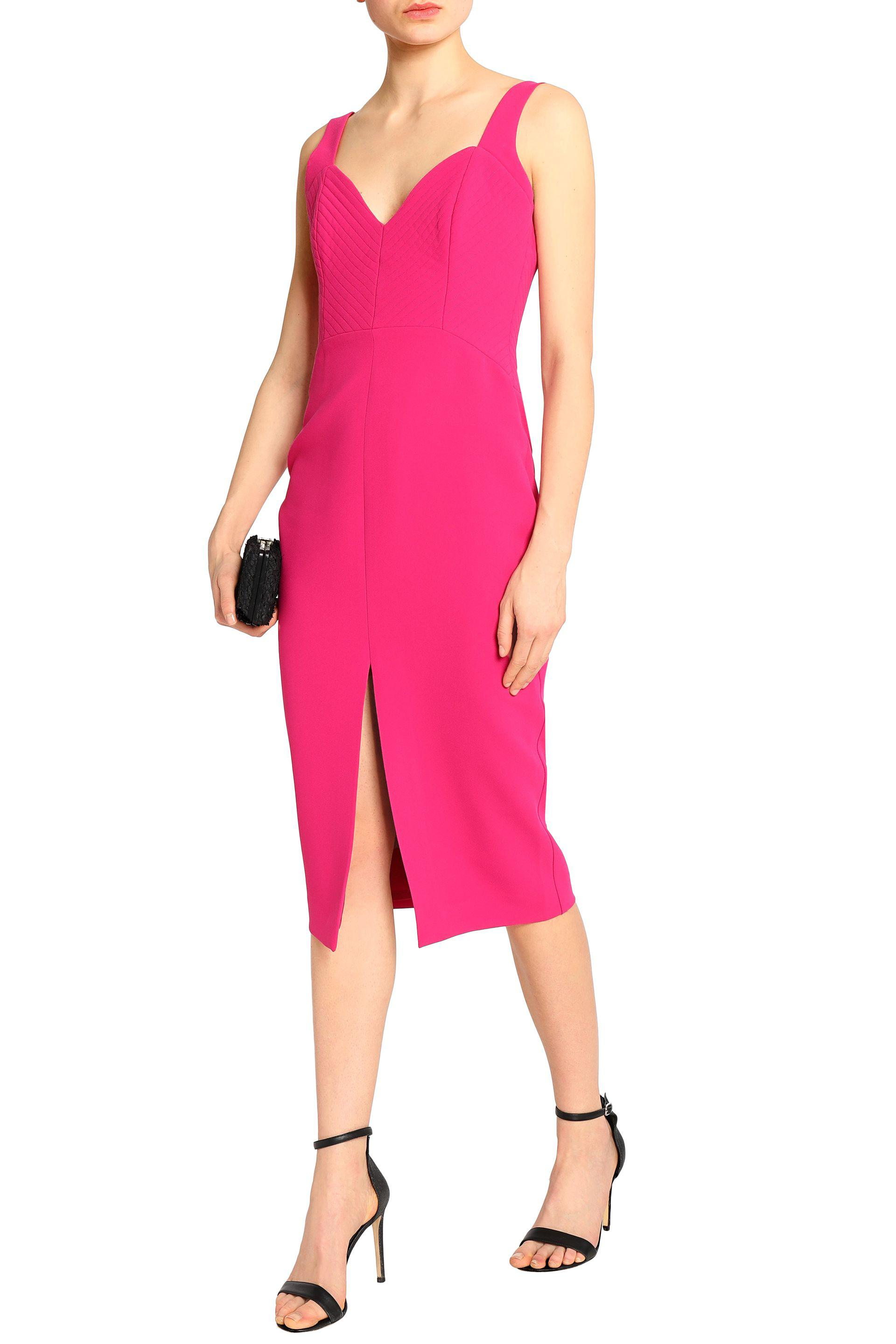 Nicholas Woman Split-front Quilted Crepe Midi Dress Fuchsia Size 4 Nicholas 2018 Best Buy Cheap With Credit Card fgoULToxzA