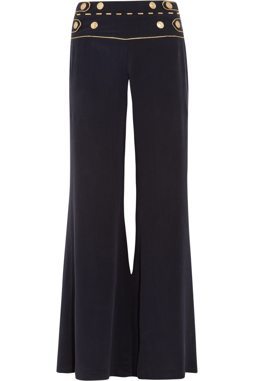 Button-detailed Crepe Wide-leg Pants - White Balmain xGwQLnFkf