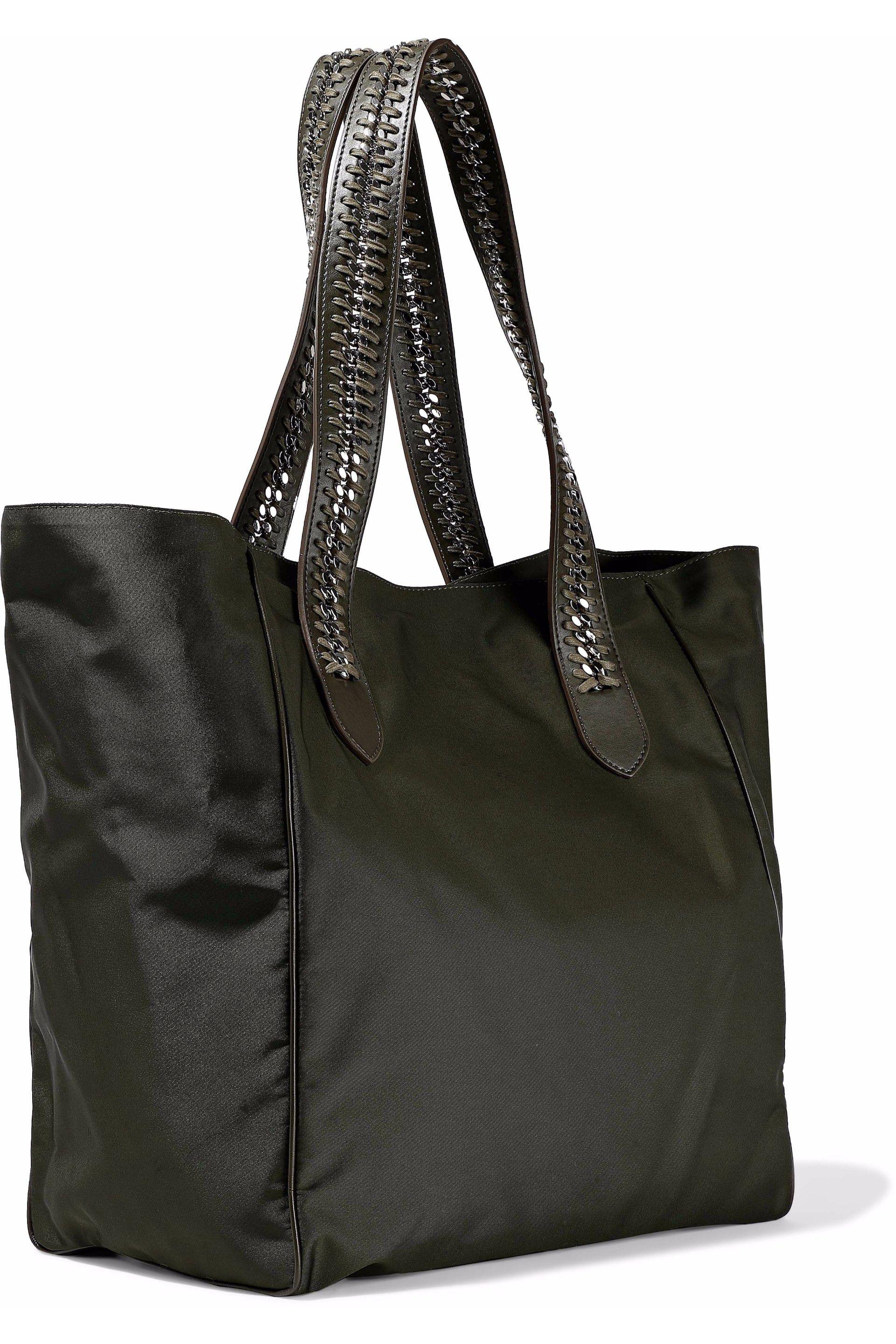 fcd478479cff Lyst - Stella McCartney Faux Leather And Chain-trimmed Shell Tote ...