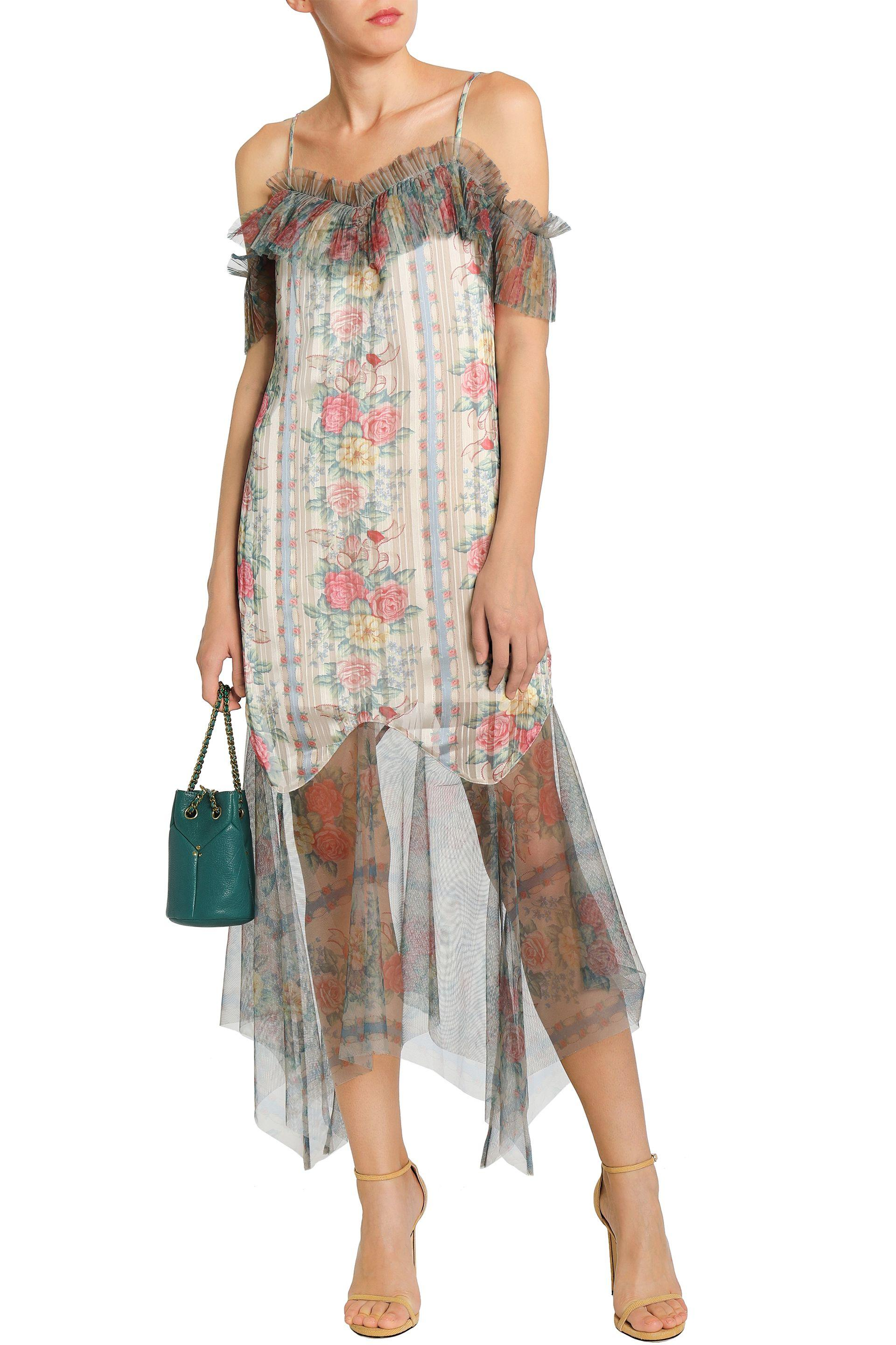 bcb7753c71 Anna Sui - White Woman Cold-shoulder Floral-print Satin-jacquard And Tulle.  View fullscreen