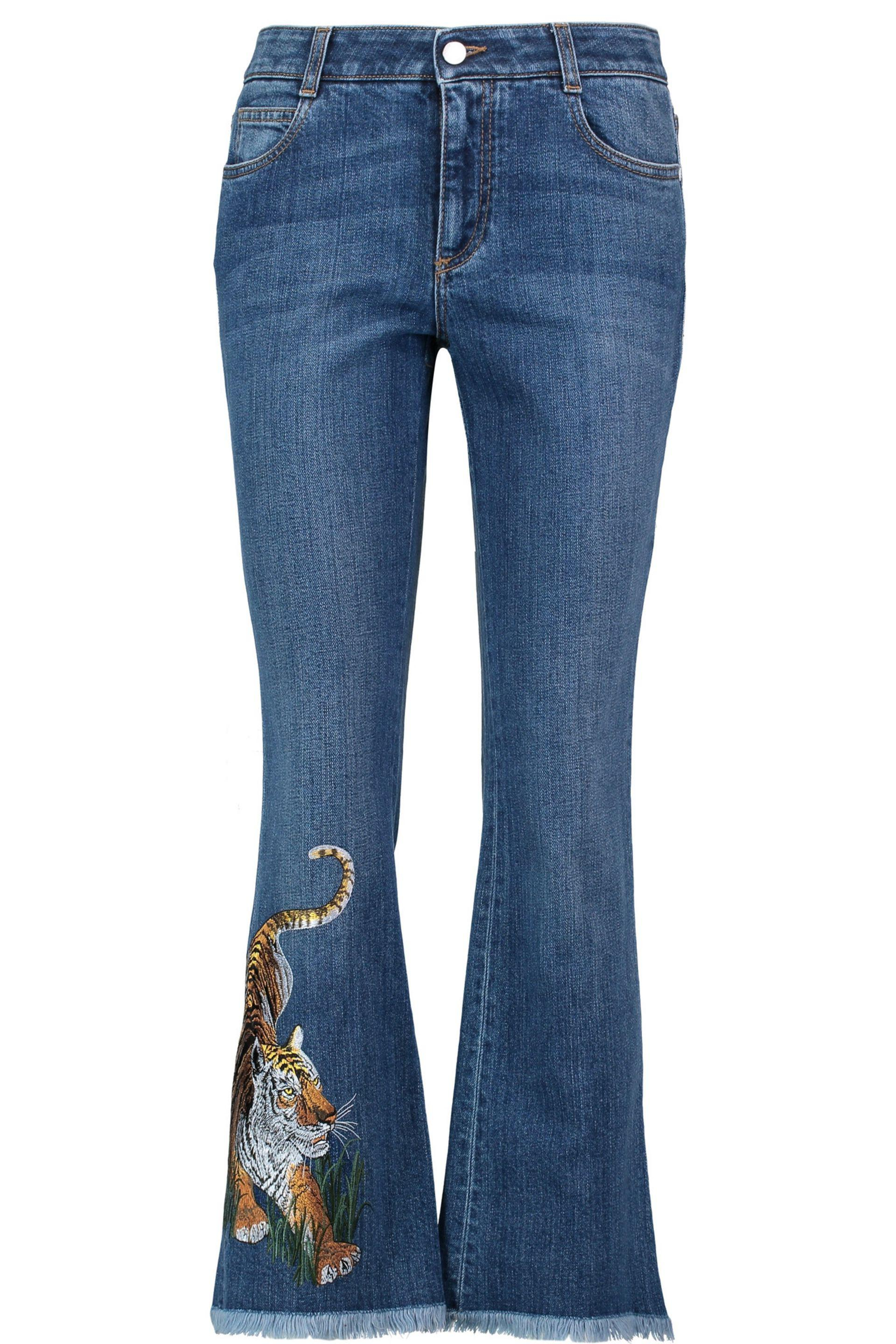 Stella Mccartney Embroidered Mid-rise Bootcut Jeans Mid Denim In Blue | Lyst