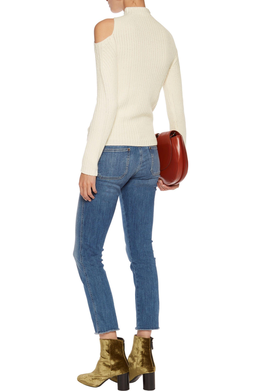 76a8809e10a124 Maje Cold-shoulder Wool-blend Sweater - Lyst