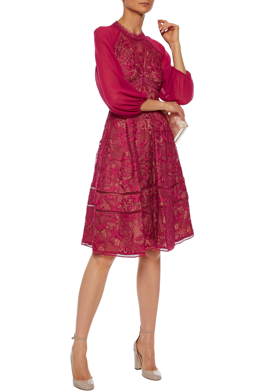 f486afbfd8cf ... Chiffon-paneled Guipure Lace Dress Fuchsia - Lyst. View fullscreen