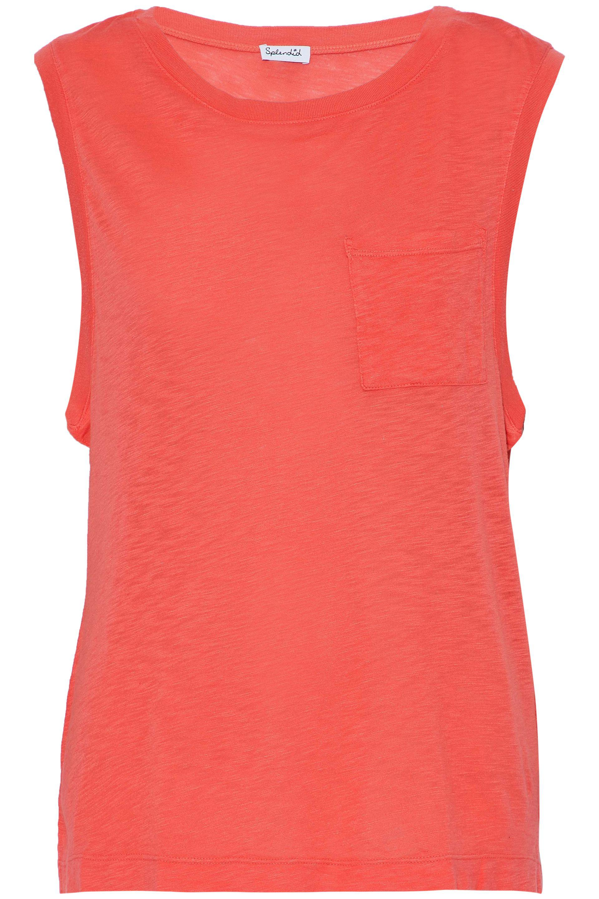 Splendid Woman Slub Cotton And Modal-blend Jersey Top Coral Size L Splendid Free Shipping Sale Clearance Perfect Newest For Sale Fashion Style Sale Online hmhMkS