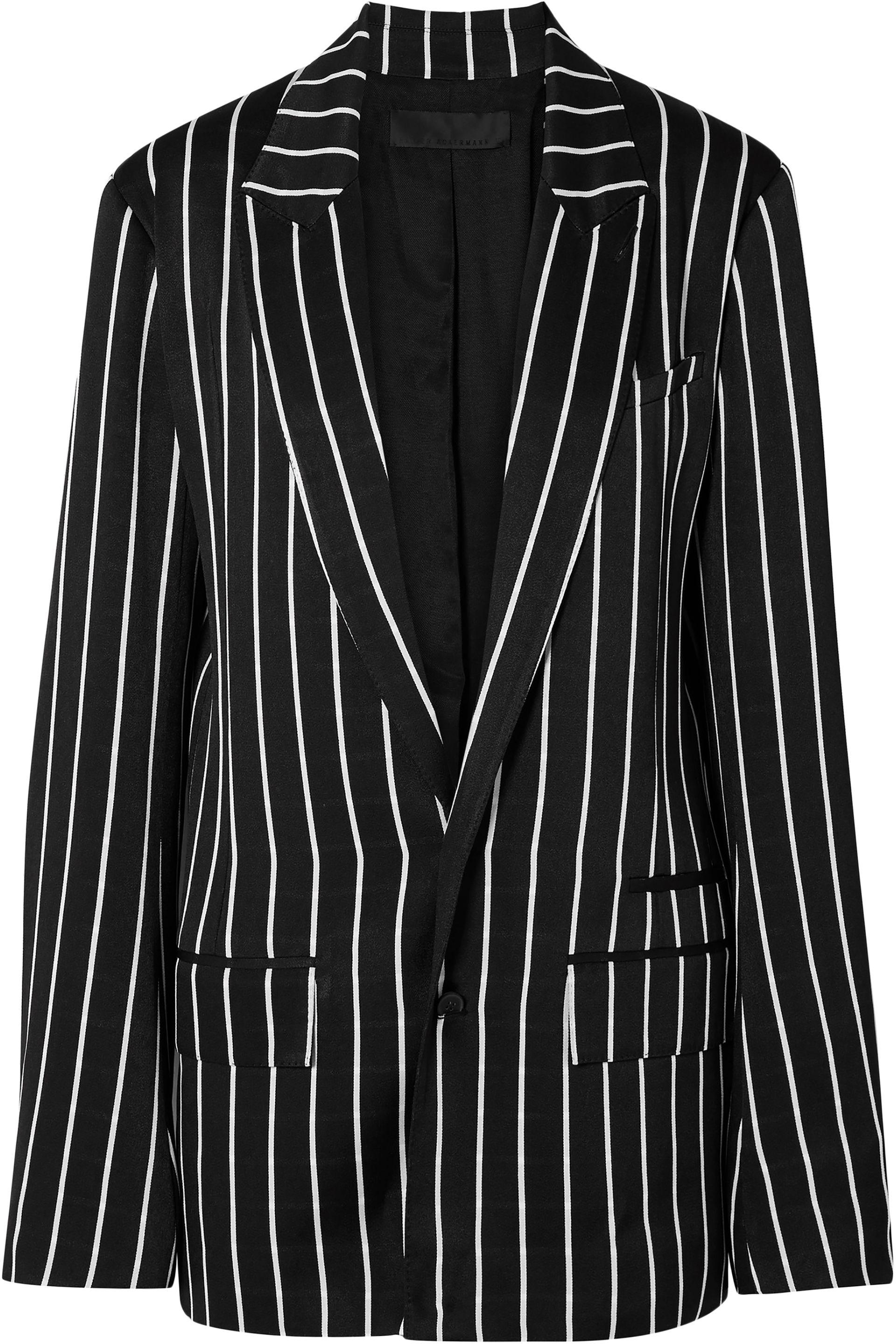 aebe9a46bfc61 Lyst - Haider Ackermann Woman Striped Satin Blazer Black in Black ...