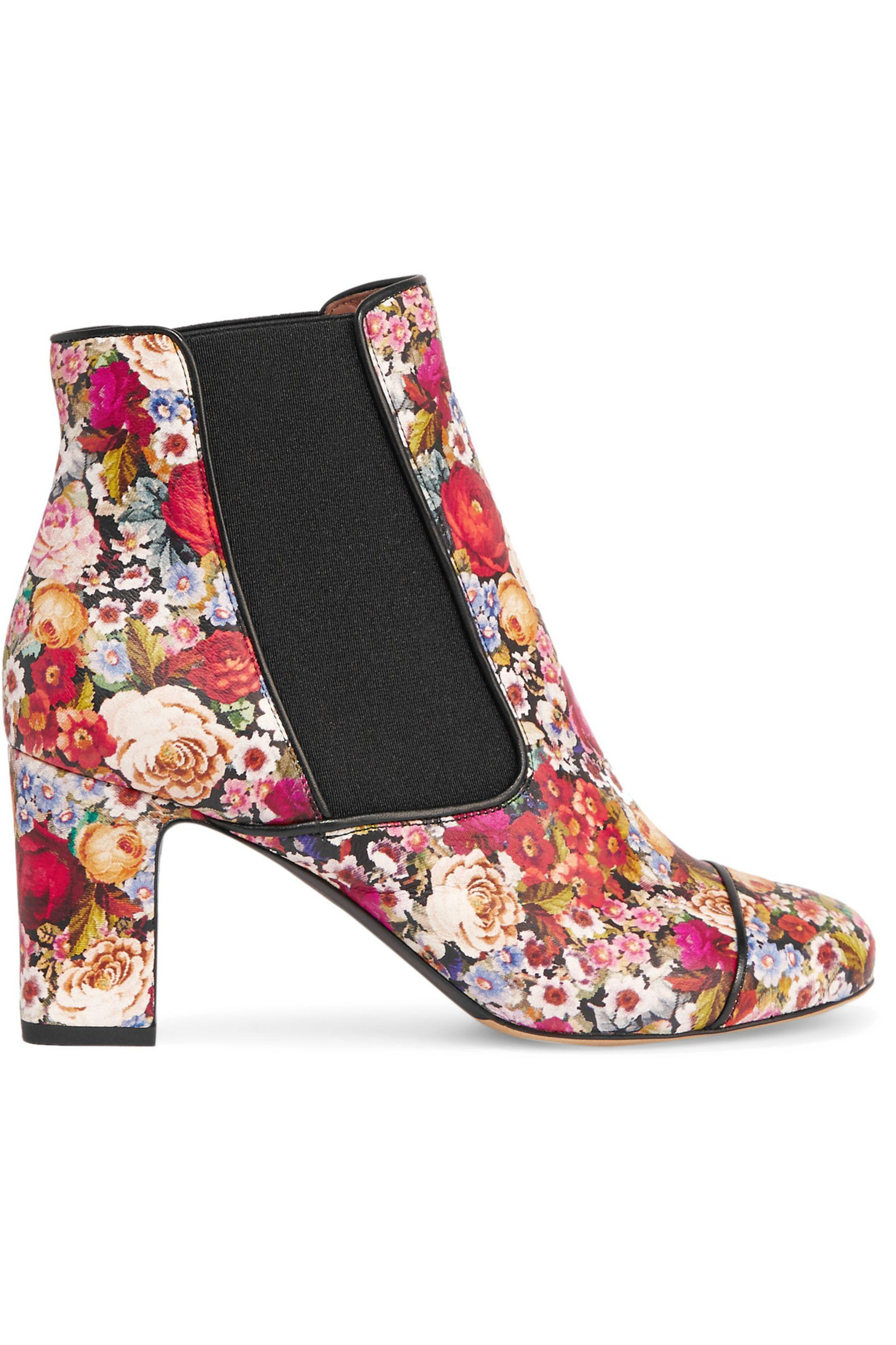Tabitha Simmons. Women's Red Micki Floral-print Leather Ankle Boots