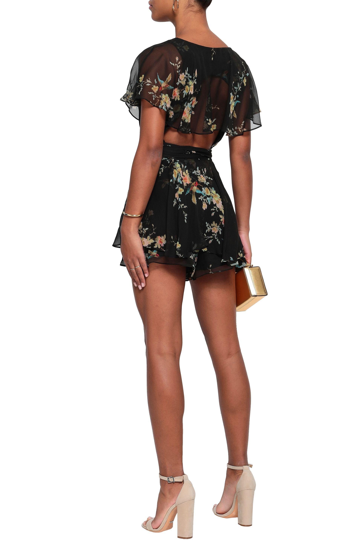 d1a6971451 Zimmermann - Woman Floral-print Silk-georgette Playsuit Black - Lyst. View  fullscreen