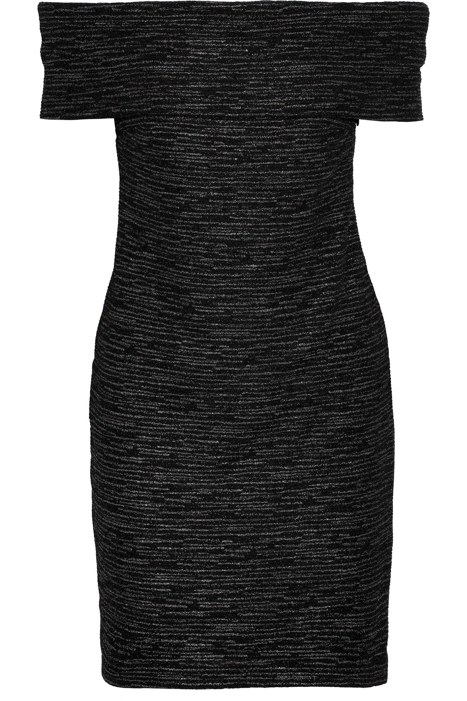 29560f48d0be Halston. Women's Black Off-the-shoulder Metallic Bouclé-knit Mini Dress