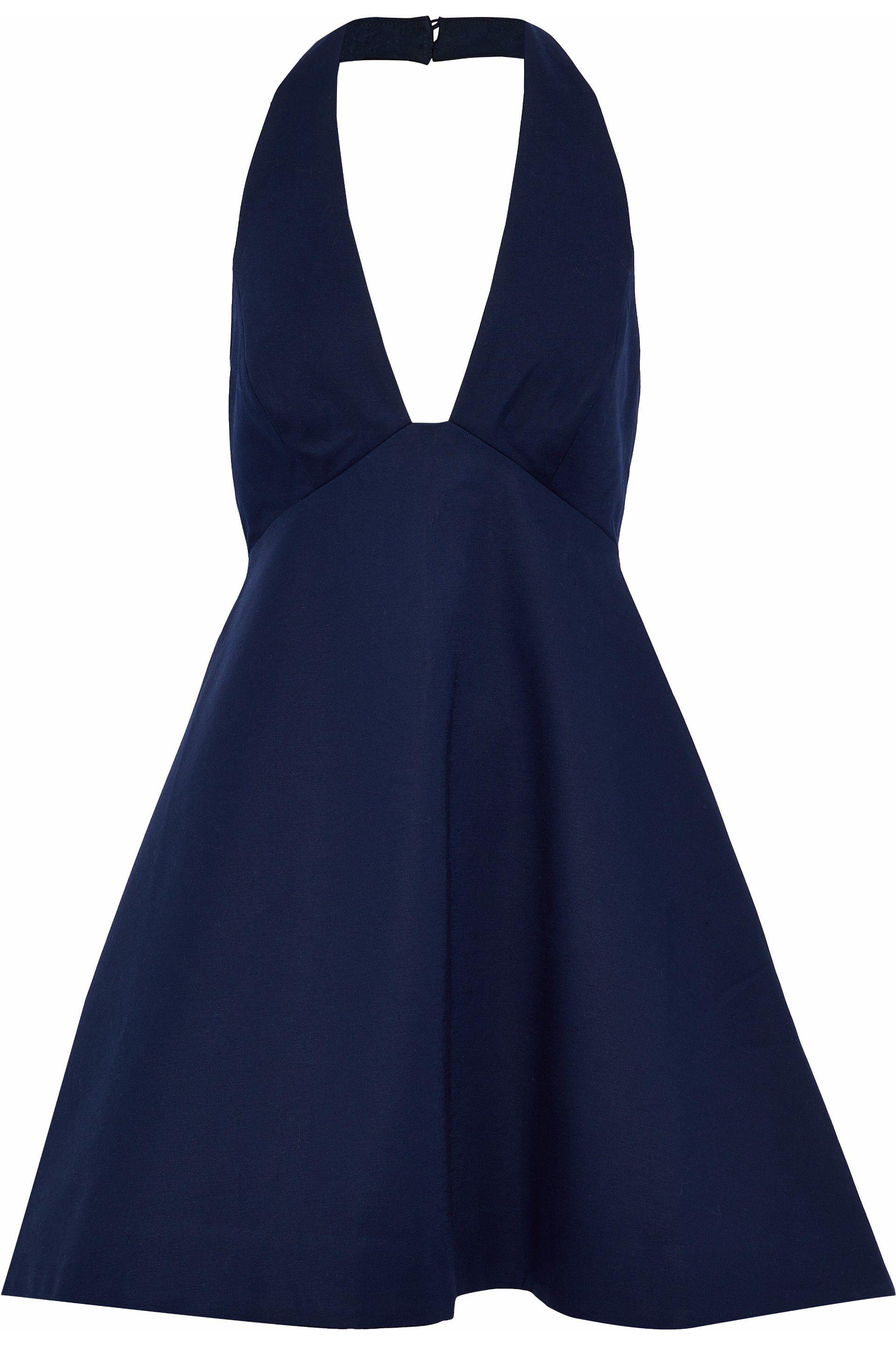 Big Sale Cheap Online Halston Heritage Woman Fluted Stretch-cotton Halterneck Dress Navy Size 10 Halston Heritage Discount Newest Where To Buy Cheap Real Cheap Fashionable 2018 Newest Sale Online HmYZUACHWC