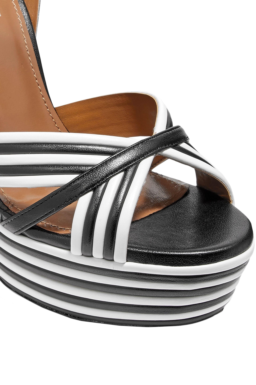 f4a3d185a67 Lyst - Aquazzura Woman Sundance Striped Leather Platform Sandals ...