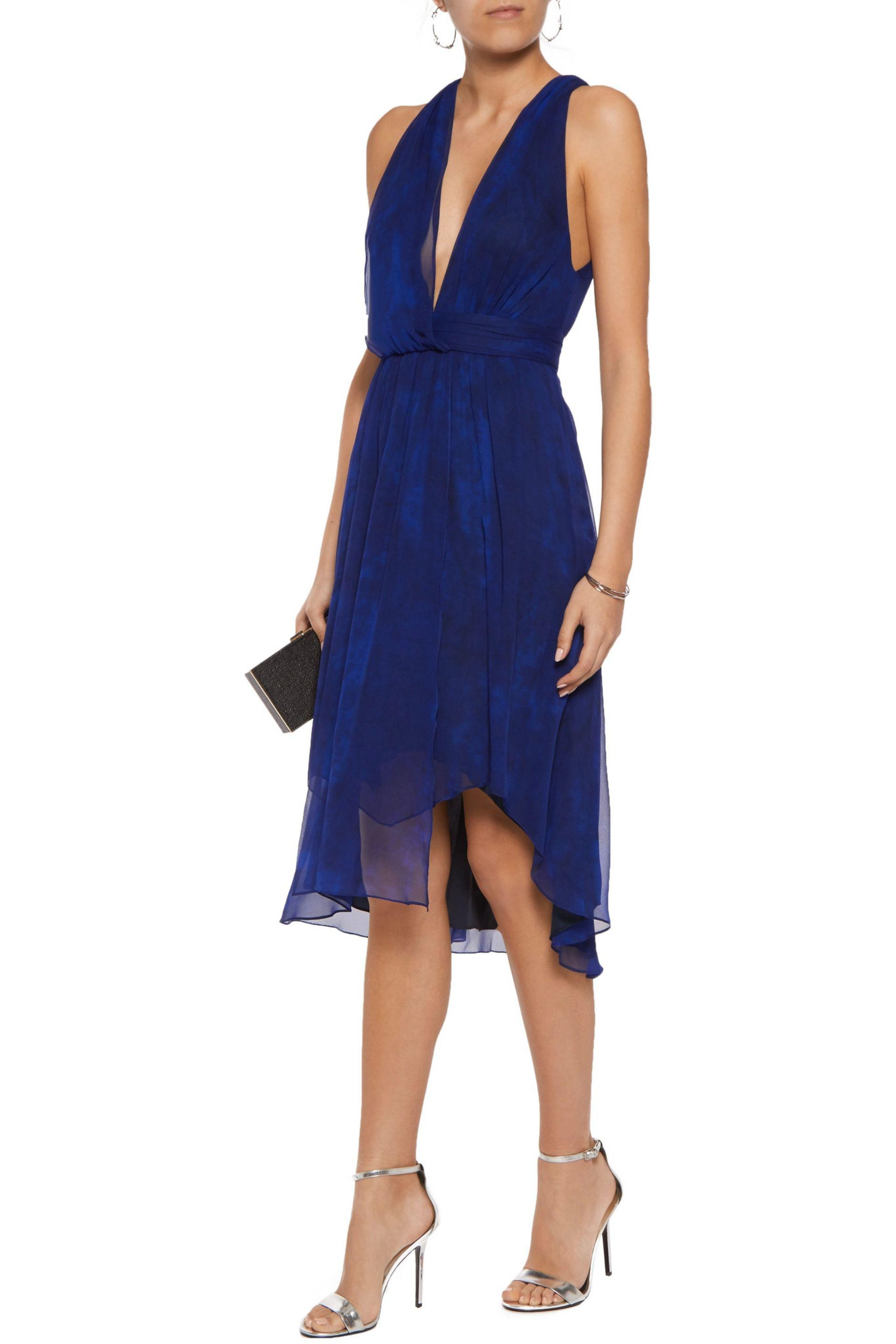 Haute Hippie - Blue Wrap-effect Printed Silk-crepe Dress - Lyst. View  Fullscreen