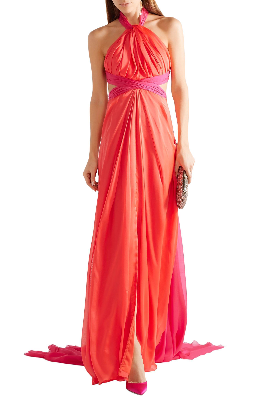 9b3f33d3225 Brandon Maxwell Woman Gathered Two-tone Silk-chiffon Halterneck Gown ...