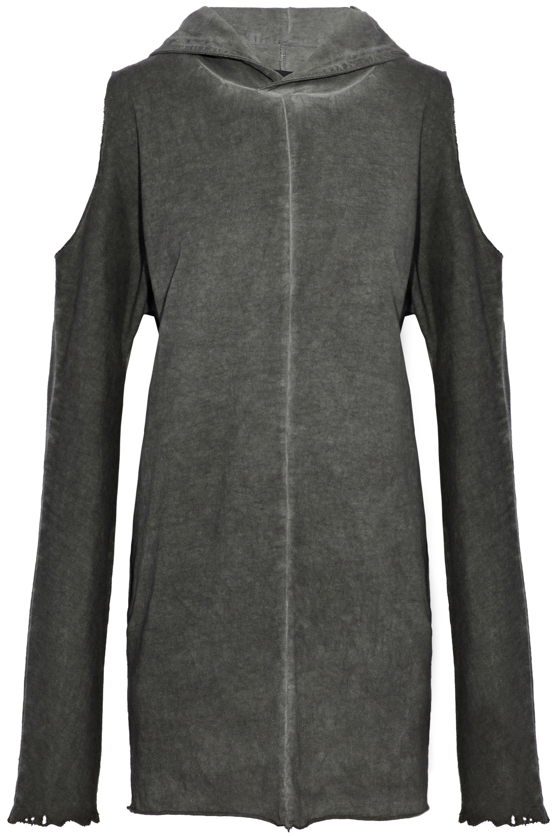 RTA. Women's Gray Cold-shoulder Distressed Cotton-jersey Hooded ...