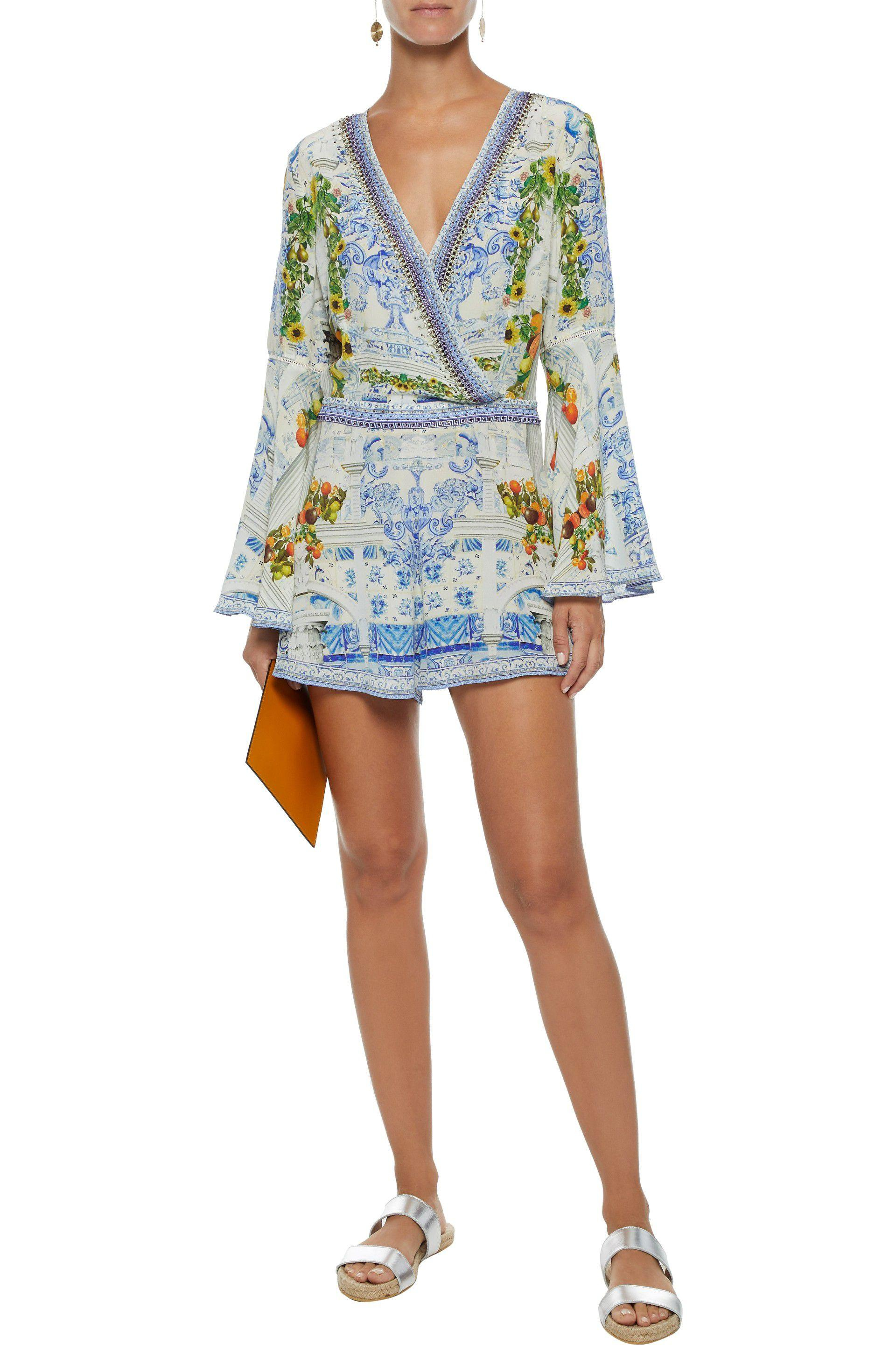 1c3df181472 Lyst - Camilla Crystal-embellished Printed Washed-silk Playsuit in ...