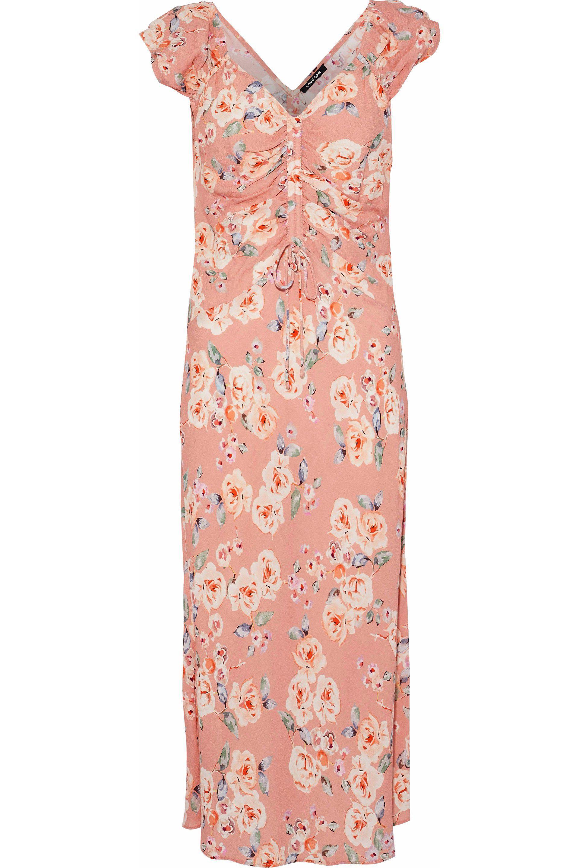 a216638600cc Lyst - Love Sam Woman Serena Ruched Floral-print Crepe De Chine ...