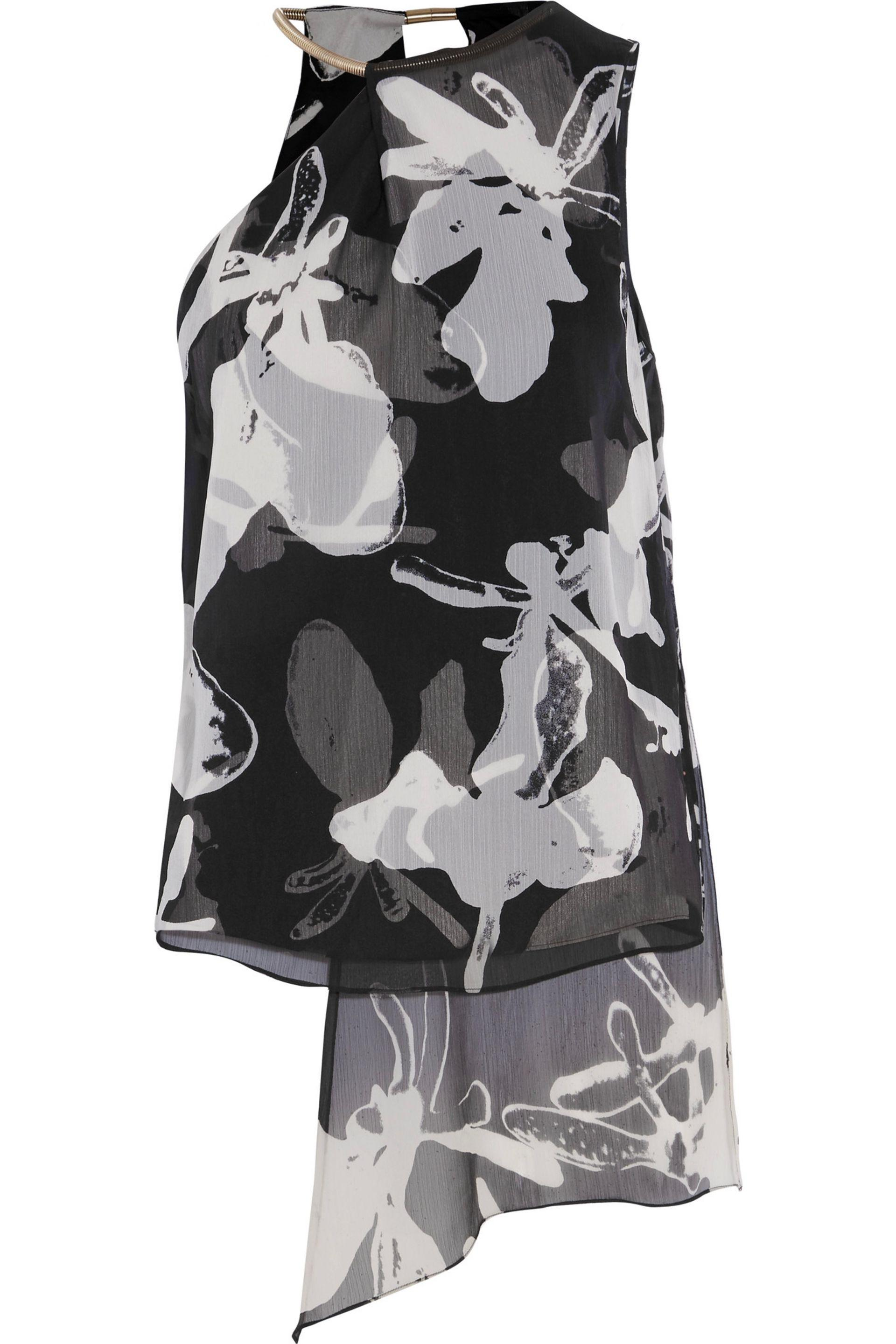 Halston. Women's Black Asymmetric Printed Chiffon Top