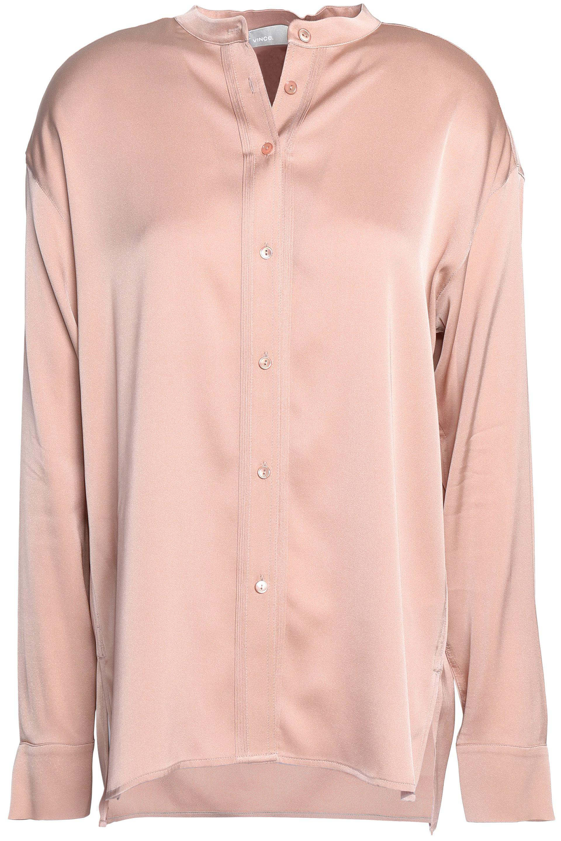 00cf052e16a9ee Vince Stretch Silk-satin Shirt Antique Rose in Pink - Lyst