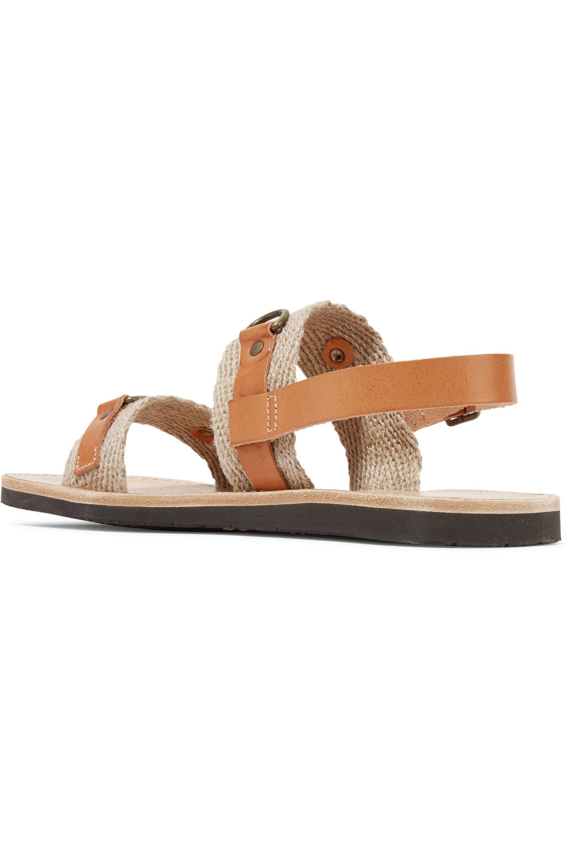 Étoile Isabel Marant - Brown Jess Paneled Leather And Woven Sandals - Lyst.  View Fullscreen