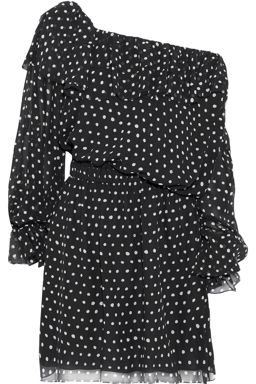 e92af559f03 Saint Laurent. Women s Woman One-shoulder Polka-dot Silk-georgette Mini  Dress Black