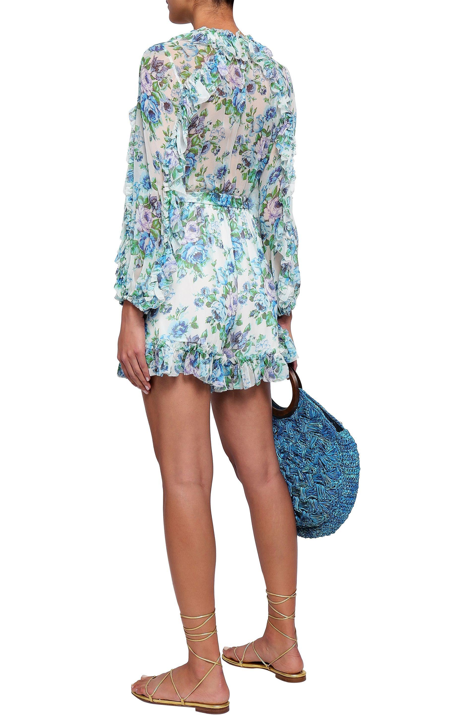 f9fee07c36c Lyst - Zimmermann Woman Breeze Ruffle-trimmed Floral-print Silk ...