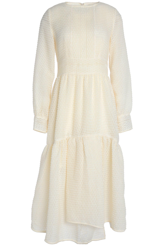 Goen.J. Women's White Asymmetric Ruffled Appliquéd Organza Midi Dress