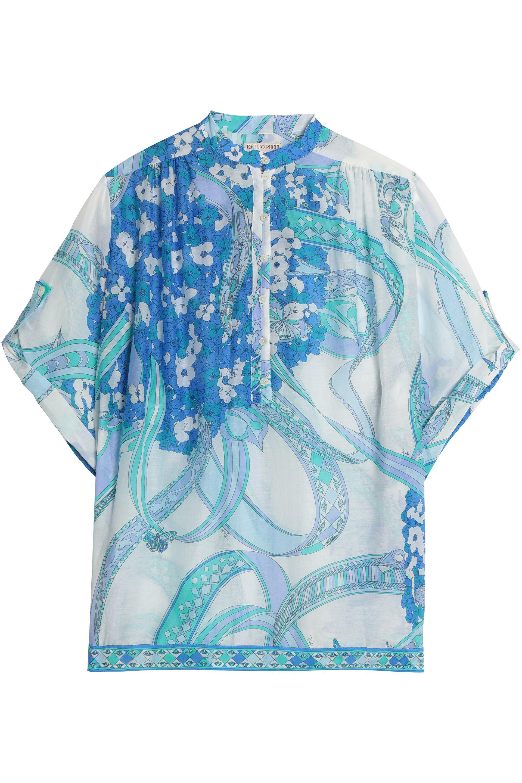 Emilio Pucci Woman Ruffled Printed Silk Blouse Blue Size 40 Emilio Pucci Professional The Best Store To Get TYQMVM6Ec9