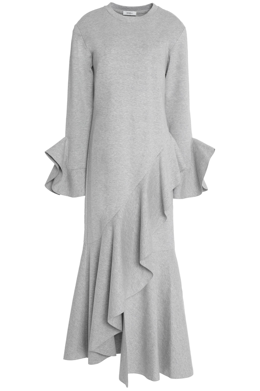 Goen.j Woman Asymmetric Mélange Cotton-jersey Midi Dress Light Gray Size L GOEN.J Discount Best Sale s0WdRl