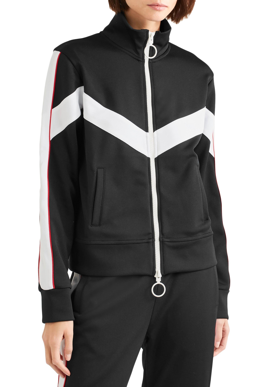 6e55fa882707 Off-White c o Virgil Abloh - Woman Striped Satin-jersey Jacket Black. View  fullscreen