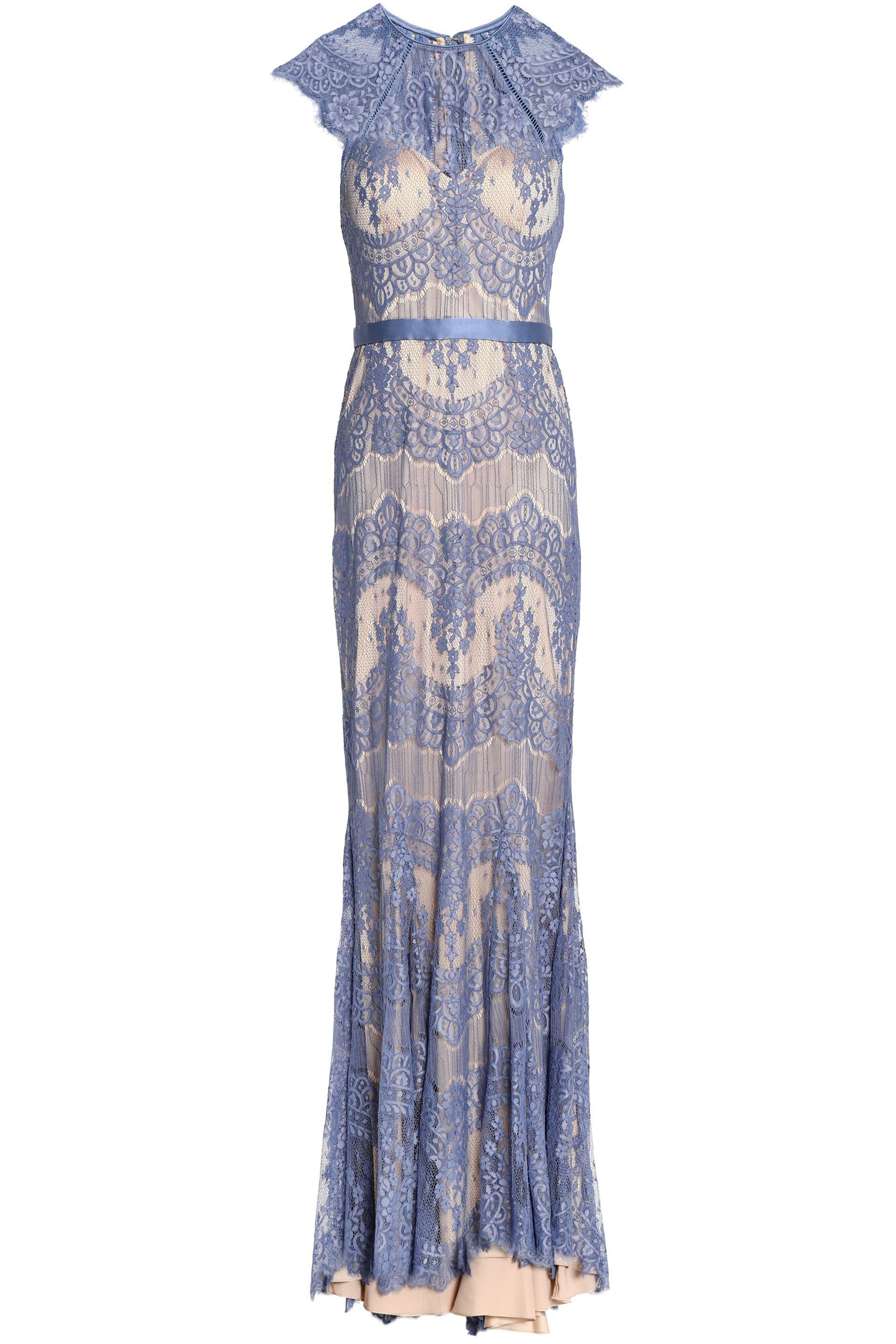 Lyst - Catherine Deane Idella Satin-trimmed Ruffled Corded Lace Gown ...