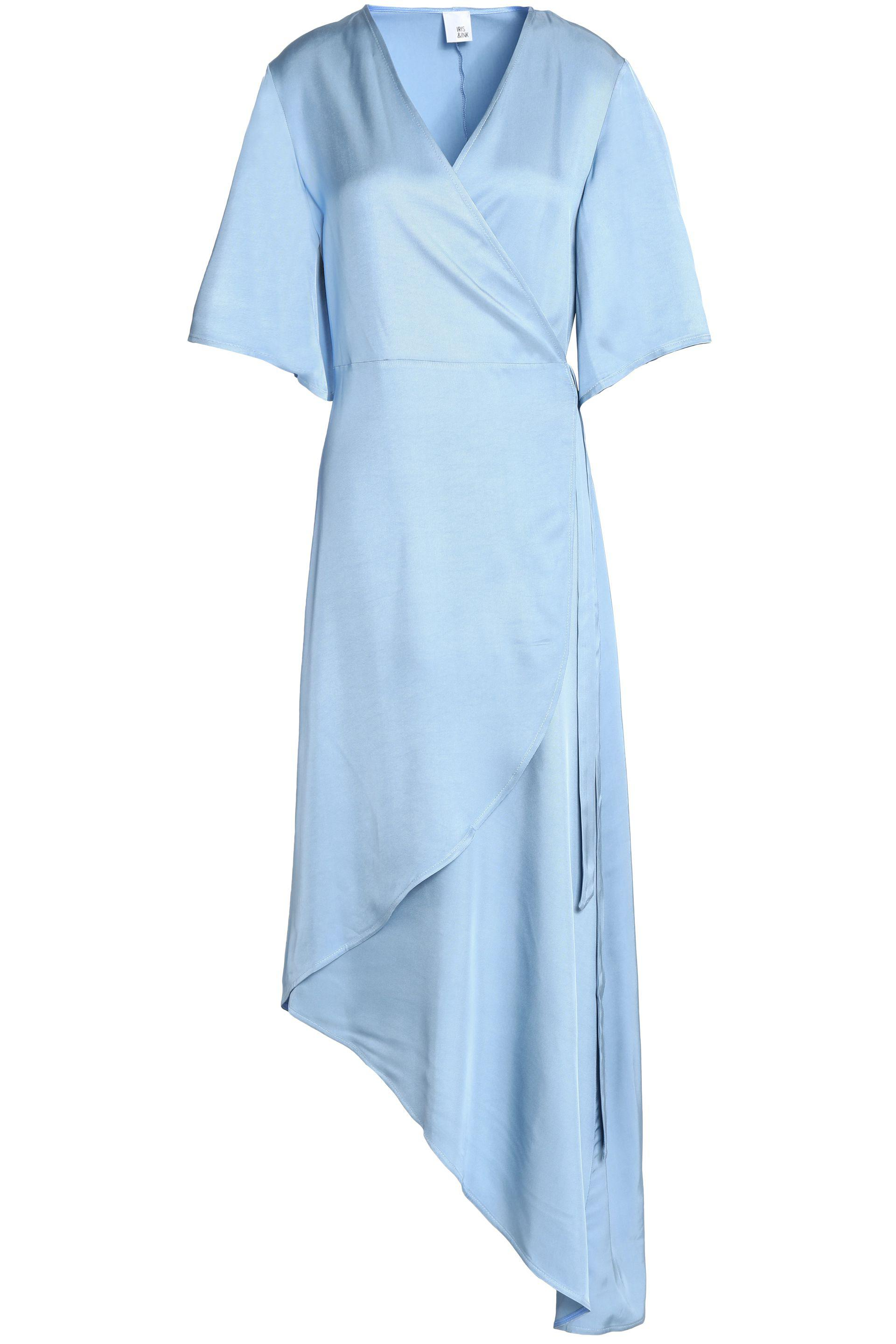 Iris & Ink Woman Noel Asymmetric Satin-twill Midi Wrap Dress Light Blue Size 4 IRIS & INK Cheap Real Authentic Looking For Cheap Online Cost Outlet Countdown Package 7D2Dfmu