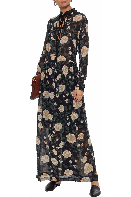 de7cf2056cc Ganni Carlton Floral-print Georgette Maxi Dress in Black - Lyst